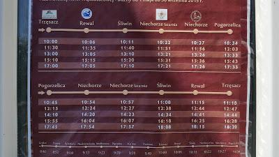 Fahrplan 2015 der polnischen Schmalspurbahn Gryfice – Trzesacz – Rewal – Sliwin – Niechorze – Pogorzelica